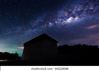Milky Way at kudat Sabah Malaysia.Long exposure  and high ISO photograph.with visible grain and noise, blur, and soft focus. ,