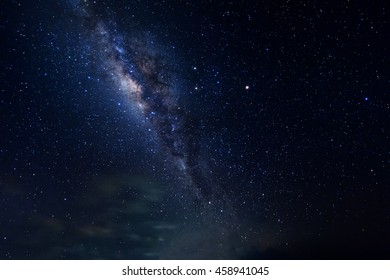 Milky Way at kudat Sabah Malaysia.Long exposure and high ISO photograph.with visible grain and noise, blur, and soft focus.