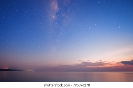 Milky Way at kudat Sabah Malaysia.Long exposure photograph.with visible grain and noise, blur, and soft focus.