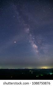 "Milky Way from ""Kujukutani"" Observation Park ,at Mt. Kanou, Kimitsu City, Chiba Prefecture, Japan."