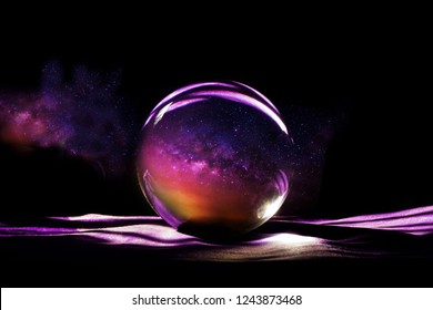 Milky way in magic sphere,Fortune teller,mind power concept.