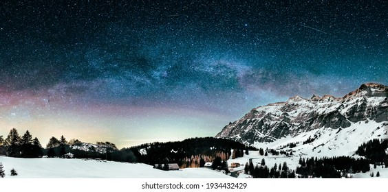Milky Way in the night over the swiss mountains in Appenzell