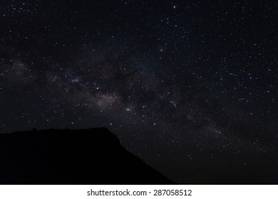 milky way night scene with mountain.