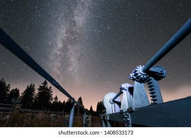Milky way in the night sky with the Weir in the foreground