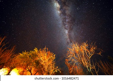 MILKY WAY. Night starry sky over San Pedro de Atacama. the view of the planets, neighboring galaxies and the most spectacular star clusters in the Milky Way.  Atacama Desert. Chile. Rainless. Space.