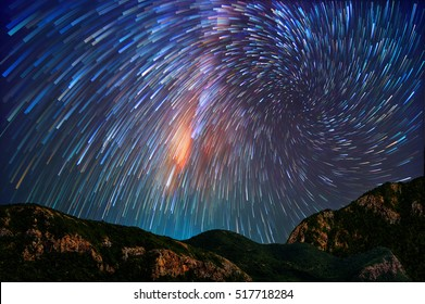 Milky way on hill, long speed exposture.