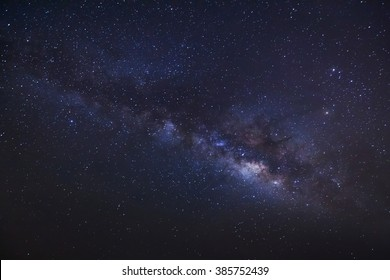 milky way on a night sky, Long exposure photograph, with grain.