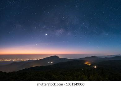 The milky way on a starry night and Doi Hua Sua, Inthanon viewpoint, Chaingmai Thailand