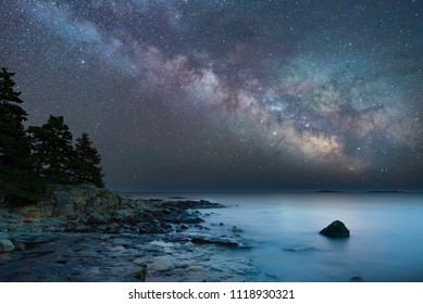 Milky Way over the Atlantic Ocean at high tide