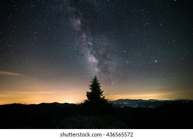 The milky way over the Blue Ridge Mountains on the border of North Carolina and Tennessee along the Appalachian Trail on Round Bald at the Roan Highlands. A Frasier Fir tree sits in the distance.