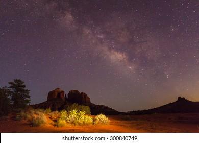 Milky Way Over Cathedral Rock Sedona Arizona