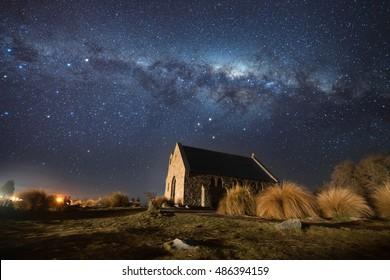 Milky way over Church of Good Shepherd, Lake Tekapo, New Zealand