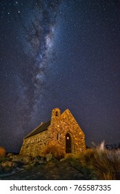Milky way over Church of Good Shepherd, Lake Tekapo, New Zealand in late clear winter night.