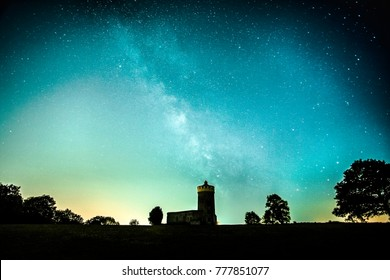 Milky Way over the Clifton Observatory, Bristol.  Many think it's impossible to see stars over the city - evidence it's not. Single shot.