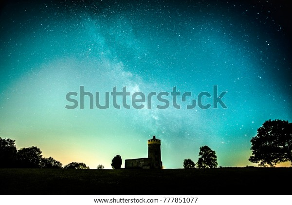 Milky Way Over Clifton Observatory Bristol Stock Photo (Edit