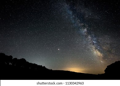 Milky Way over the forests of Granadilla. Extremadura. Spain.