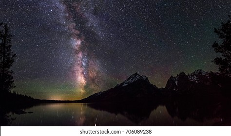 Milky Way over Jenny Lake in the Grand Tetons