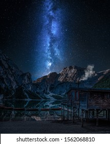 Milky way over Lago di Braies at night, Dolomites