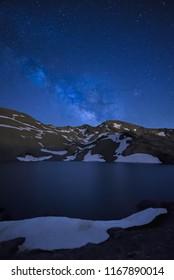 Milky way over Laguna de las Yeguas in Sierra Nevada, Spain