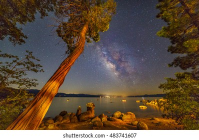 Milky Way over Lake Tahoe | While the Milky Way lit up the night sky, the lights from a wedding venue at Lake Tahoe brightened up the area.