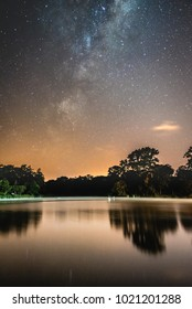 Milky Way over lake in town of Whaganui, New Zealand
