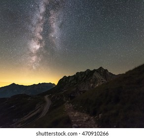 Milky way over the Mangart saddle below the Mangart mountain. Beautiful night scene in Julian Alps in Slovenia.