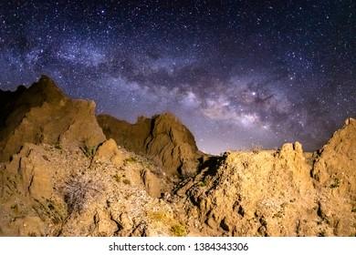 Milky Way Over Marslike Badlands in the Anza-Borrego Desert