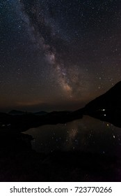 Milky Way over the mountain lake
