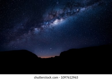 Milky way over the mountains at dusk