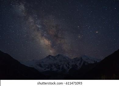 Milky way over Nanga Parbat mountain massif, Fairy Meadow, Pakistan, Asia