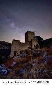 Milky way over old abandoned castle in Andalusia, Spain