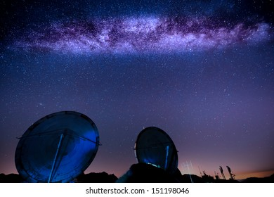 milky way over an old military radar installation