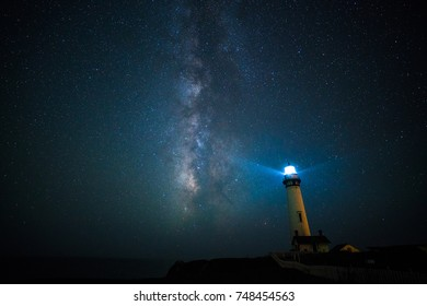 Milky way over the Pigeon point lighthouse, California