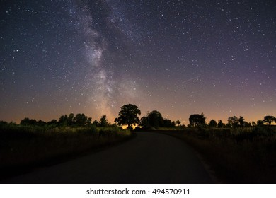Milky Way over a road near Wismar in Germany, Mecklenburg Vorpommern