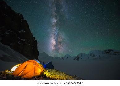 Milky way over Saribung Peak's high camp, Nepal