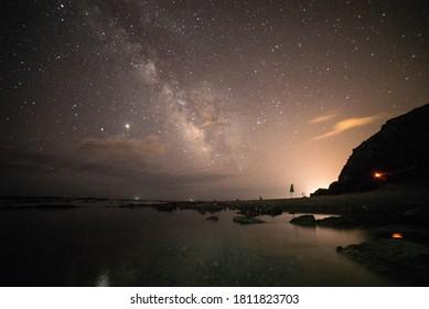 Milky Way over the sea. Night landscape with Milky Way Galaxy over the mediterranean sea