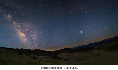Milky way over Zabriskie point, death valley national park