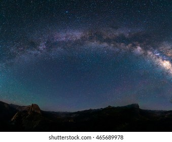 Milky way panorama from Glacier point, Yosemite national park, California.