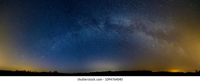 Milky Way panorama and road