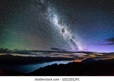 Milky Way panoramic from Isthmus Peak over lake Wanaka