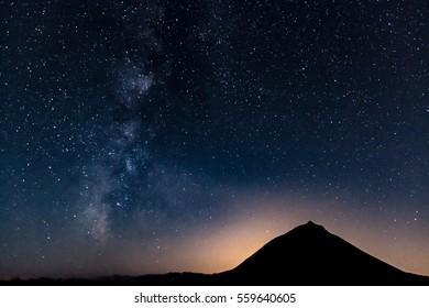 Milky Way with Pico Mountain silhouette - Azores