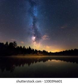 Milky Way Reflects Off Water, Low Tatras National Park Slovakia