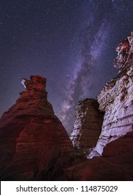 The Milky Way rises above the Wedding Party rock formation in the Black Mesa area of Oklahoma