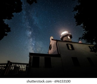 The Milky Way rises in the night sky over East Point Lighthouse in southern New Jersey