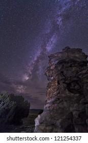 Milky Way rises over a hoodoo in Oklahoma, USA