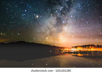 Milky Way rising over lake Tekapo in Aoraki dark sky reserve New Zealand