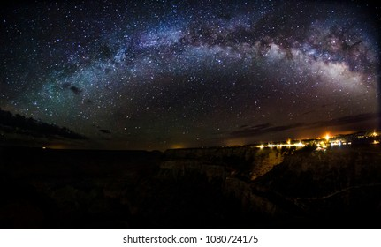 The Milky Way rising over the South Rim of Grand Canyon National Park in Arizona.