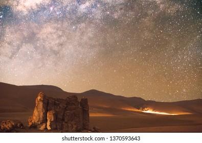 milky way setting in the desert