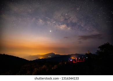 The Milky Way Star beautiful sky on Doi Inthanon mountain, Chiang Mai, Thailand.
