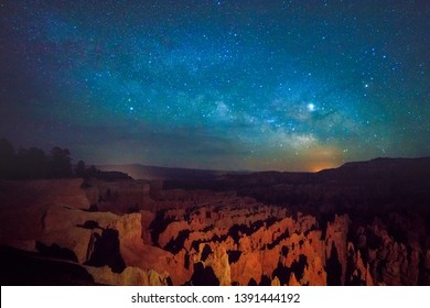 Milky Way and stars above Bryce Canyon, Utah, USA.